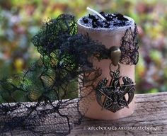 """RAVEN BANNER PENTAGRAM Warrior Witch Queen """"Nordic Lights""""™ Pillar Blót Candle with Bronze Amulet Talisman Pendant on Tattered Black Lace"""