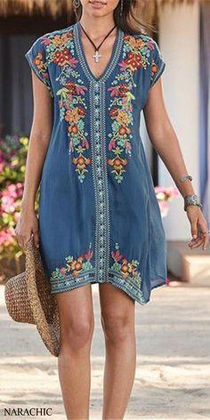 plus size fashion Plus Size Bohemian Embroidery V Neck Mini Dress Mode Hippie, Bohemian Mode, Bohemian Style, Mini Vestidos, Vestidos Vintage, Plus Size Bohemian, Estilo Hippie, Mini Robes, Look Boho