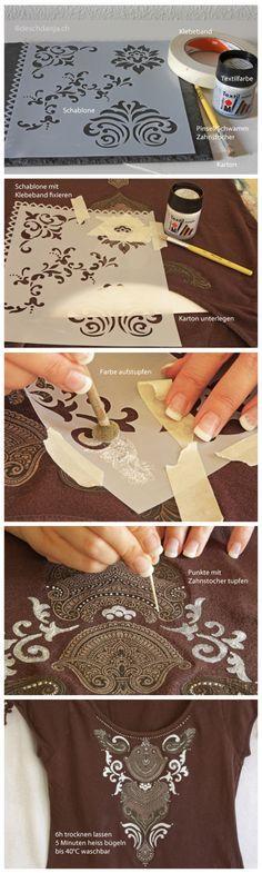 Schablonieren mit Textilfarbe