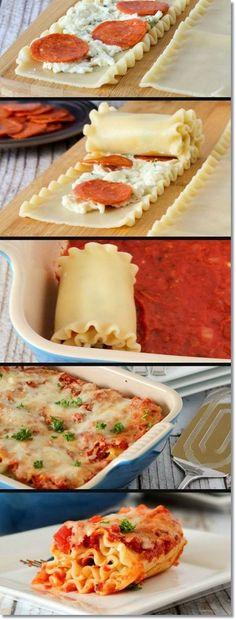 Pepperoni Pizza Lasagna Rolls.. This idea is genius! Using turkey pepperoni and part-skim mozzarella.