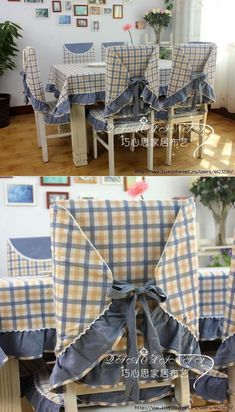 We sew cloths, covers on chairs (kitchen). Chair back covers to match the tablecloth. Chair Back Covers, Dining Room Chair Covers, Dining Chair Slipcovers, Table Covers, Sofa Covers, Chair Cushions, Living Room Chairs, Dining Chairs, Crochet Cushion Cover