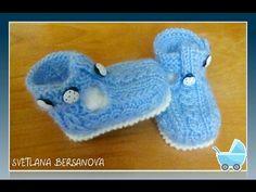 Пинетки-сандалики спицами. Knitting booties - YouTube