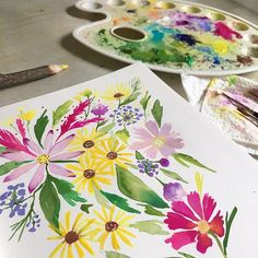 Loose, messy wildflowers with a muddy watercolour + gouache palette. Painting by Dee at PRINTSPIRING