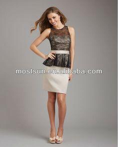 wholesale-BM117B Elegant High Neck Lace Bodice Satin Peplum Skirt Traditoonal Lace Bodice Bridesmaid Dress Two Color- factroy US $148.00
