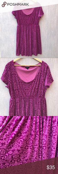 Torrid burnout velvet fit and flare dress purple 3 Torrid burnout velvet fit and flare dress. Fully lined. Elastic waist. Excellent condition. Approximate flat lay measurements: chest 21in, waist 17in, length 39in. #Q-17 torrid Dresses