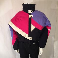 80s Eighties Ski Suit Purple Pink Black White Subello Schoeller of Switzerland Vintage Size 14 Medium M Women by CarolinaThriftChick on Etsy $69