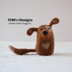 Needle Felting Doggy Kit, complete animal wool fiber dog kit for beginners