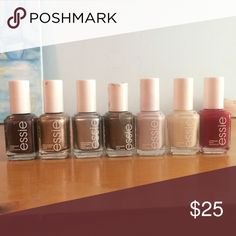 Essie nail polish lot! (From left to right) Sable collar, penny talk, no place like chrome, merci boku, hubby for dessert, allure, twin sweater set. 7 for $25 or $4 each! Essie Makeup