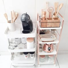 elegant kitchen desk organizer ideas to look neat 7 < moeshouse Kitchen Desk Organization, Kitchen Desks, Coffee Bar Home, Home Coffee Stations, Coffee Corner, Room Decor Bedroom, Diy Room Decor, Home Decor, Elegant Kitchens