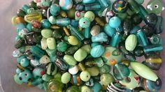 Green lampwork beads approximately 300g good quality
