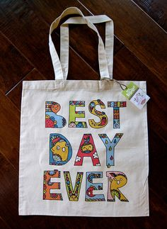 """my buddles canvas tote bag  """"best day ever"""""""