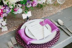 Modern Purple Charger | Valentines Day wedding inspiration | Image by Jacque Lynn Photography | www.jacquelynnphoto.com    Styling and Design by: Michelle Leo Events | www.michelleleoevents.com