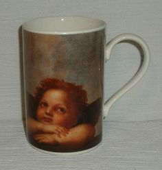 "Dunoon Mug Cup Angel Cherub England 4"" Vintage FREE US Ship #Dunoon"