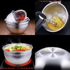 Food Storage Stainless Mixing Bowl Polished Kitchen Bowl for Cooking Baking with Measurement 9inch 23.5cm TPKJ67284 #mixingbowls