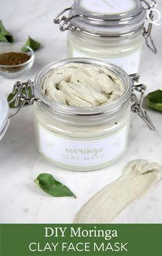 DIY Moringa Clay Face Mask This DIY face mask is made with skin-loving ingredients like avocado oil and moringa leaf powder. Food For Dry Skin, Mask For Dry Skin, Skin Food, Food Acne, Homemade Beauty, Diy Beauty, Beauty Tips, Homemade Facials, Diy Lush