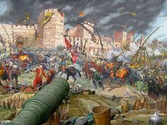 """The final assault and the fall of Constantinople ( Panorama 1453 Historical Museum, Istanbul)"""