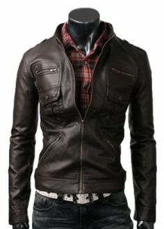 Zip Pocket Leather Jacket Dark Brown ($50.00 Off + FREE SHIPPING)