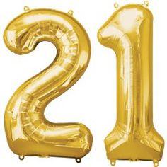 Age 21 Gold Balloons - Foil - Birthday Balloons (each) Large Number Balloons, 21 Balloons, Latex Balloons, Birthday Balloons, Birthday Greetings, Birthday Wishes, Birthday Design, Milestone Birthdays