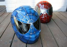 Custom Motorcycle helmet airbrushed Blue Red Spiderman Painted on HJC CS-R1 For the boys!