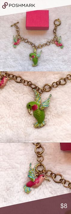 """Handmade🎁Gold Humming Bird Bracelet Gold Humming Bird Bracelet that's Hand Made. Beautiful vibrant colors and Rhinestones. About 7 1/2""""inches in length. Bundle 2 or more listings and save 15%! Jewelry Bracelets"""