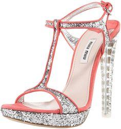 Miu Miu Silver Glitter Tstrap Sandal