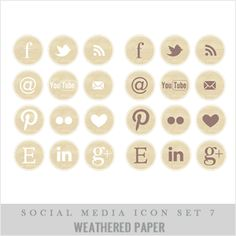TO DESIGN weathered paper social media buttons Blog Design, Web Design Inspiration, Typography Design, Branding Design, Design Fonte, Social Media Buttons, Blog Love, Social Media Icons, Marketing