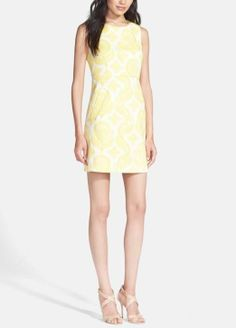 In love with this Diane von Furstenberg sheath dress. The yellow and white print is perfect for spring.