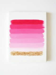 this handmade painting has beautiful shades of pink with a sparkly gold accent at the end. liven up those walls with some pretty ombre!