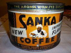 "Vintage Sanka Coffee Tin "" The Aroma Won It's Diploma"""