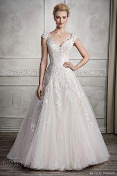 kenneth winston fall 2016 bridal cap sleeves v neck heavily embellished bodice romantic princess a  line wedding dress scoop back sweep train (1679) mv