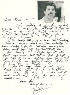 Very cool letter probably to the can club newsletter. Didn't know Freddie took up smoking so late in life. Miss him.