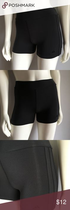"""Adidas Black Shorts Adidas Black Shorts come in black and have a lot of stretch. Size: S Waist: 24""""-26"""" Length: 11"""" Inseam: 3 1/2"""" Hips: 28""""-34"""" In excellent condition. adidas Shorts"""