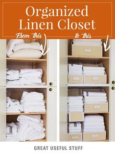 Organize your linen closet with these handy Linen Bins by Great Useful Stuff that come with customizable labels, hook & Loop closure, and sturdy walls to keep neat stacks from falling over. Linen Closet Organization, Home Office Organization, Organizing Your Home, Closet Storage, Bathroom Organization, Bathroom Storage, Organization Hacks, Bathroom Ideas, Organizing Ideas