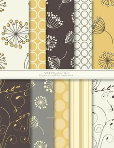"Dandelion Digital Scrapbook Paper Pack (8.5x11""-300 dpi) -- Instant Download -- 10 Digital papers -- 277"