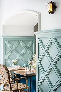 Eatery With Beautiful Boho Design Photos : Yann DeretPhotos : Yann Deret Decor, Wall Trim, Interior, Home Decor, Wainscoting, Moldings And Trim, Interior Design, Wall Design, Restaurant Design
