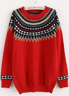 Hot Sale Long Sleeve Round Neck Sweaters Red  on sale only US$8.67 now, buy cheap Hot Sale Long Sleeve Round Neck Sweaters Red  at martofchina.com