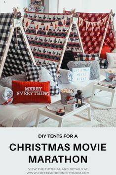 DIY Christmas Movie Marathon Slumber Tent Party -
