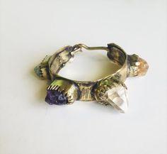 Raw crystal stones cuff gold boho gypsy antique by BreakAstone
