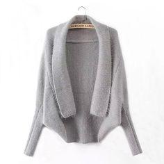 Light Grey Plain Turndown Collar Fashion Cardigan Sweater