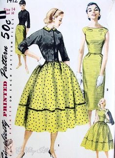 1950s Simplicity 1412 Dress Pattern Slim Figure Hugging Sheath Bateau Neckline or Full Skirted Version Plus Fitted Jacket Simple To Make Bus...