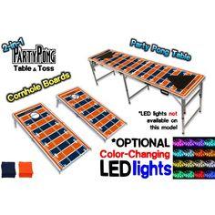 2-in-1 Cornhole Boards & Beer Pong Table - Denver Football Field, Silver
