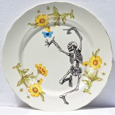 "Skull with Butterfly & Flowers  Vintage Modified Decorative Plate -8.25"" Plate"