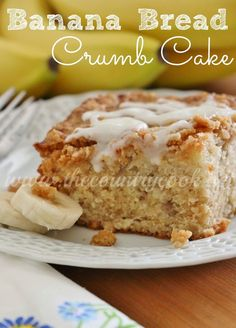 Banana Bread Crumb Cake recipe from The Country Cook. The crumb topping takes this over the top and the glaze is incredible.