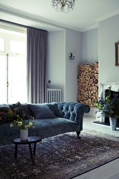 London Victorian House, Mulberry Velvet Chesterfield Covered Sofa, Poole Ceramics | Remodelista
