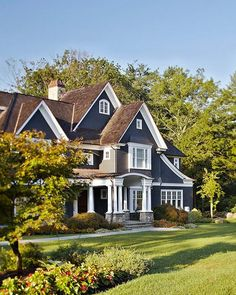 Best Dark Blue House With White Porch And Trim Digging The 400 x 300