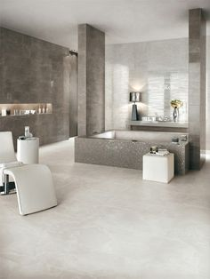 White-paste wall tiles with marble effect #marble #bathroom #grey