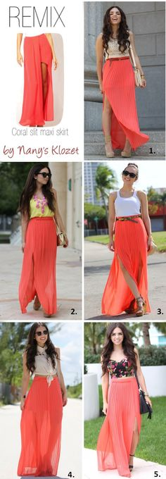Coral maxi skirt, crochet or lace top. Coral maxi, nude top. Coral maxi, yellow tank. Coral maxi, floral top. Coral maxi, white tank