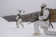 Members of the 5e Régiment d'artillerie du Canada demonstrate how to launch an Unmaned Aerial Vehicle (UAV) as part of RAFALE BLANCHE exercise held in the training areas of Base Valcartier in Courcelette (Qc) on January 23rd, 2015. Photo by: Cpl Genevieve Lapointe, Valcartier Imaging Section Military Gear, Military Uniforms, Military Police, Royal Canadian Navy, Canadian Army, Forces Armées, Armed Forces, Force Pictures, Canada