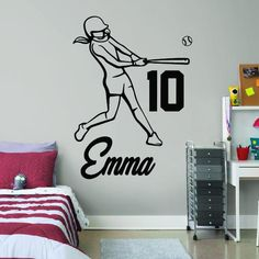ALL HOCKEY STICKERS Personalised Wall Stickers, Hockey Room, Baseball Wall, Girls Softball, Decorate Your Room, Wall Decal Sticker, Wall Colors, Sport Theme, Hockey Gifts