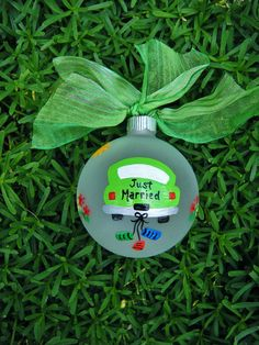 Just Married Car Ornament  Personalized by BrushStrokeOrnaments, $15.75